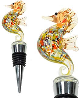 PrestigeHaus Glass Seahorse Wine Bottle Stopper - Decorative, Colorful, Unique, Handmade, Eye-Catching Glass Wine Stoppers - Wine Accessories Gift for Host/Hostess - Wine Corker/Sealer