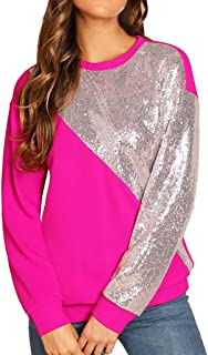 TWGONE Sequins Tops for Women Long Sleeve Blings Color Block O-Neck Patchwork Sweatshirt Pullover