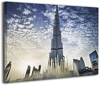 Hobson Reginald Canvas Wall Art Prints Burj Khalifa in Dubai Fountain -Photo Paintings Modern Home Decoration Giclee Artwork-Wood Frame Gallery Stretched 16