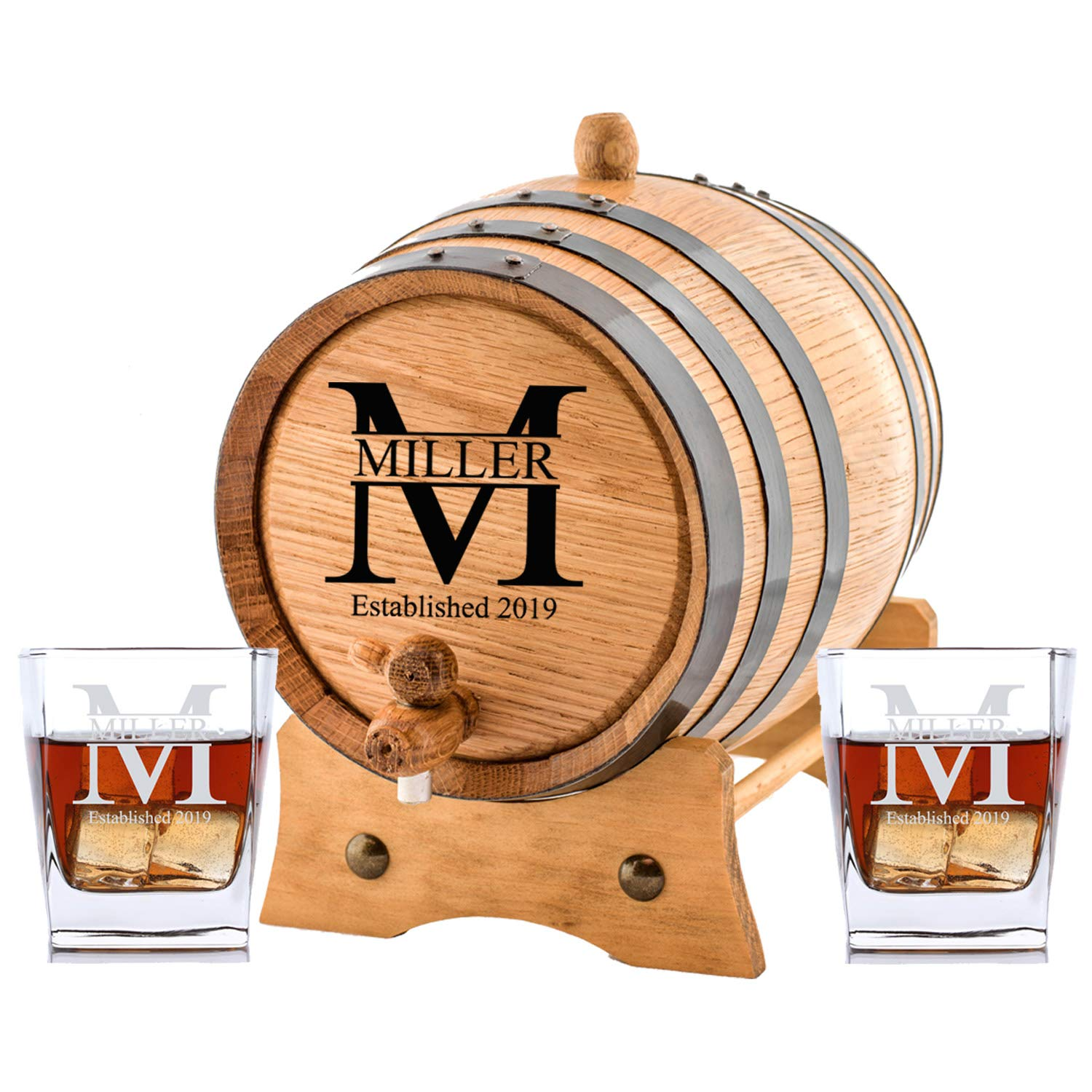 Personalized Barrel Whiskey Glasses Miller
