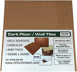 Láminas de corcho para suelos, paredes o manualidades (300 x 300 x 4 mm, autoadhesivas, 20 unidades)