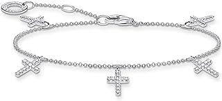 Thomas Sabo - Pulsera de cruz de plata de ley 925, 16-19 cm de longitud