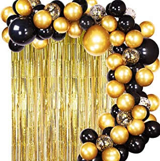 JOYYPOP DIY Black Gold Balloon Garland Arch Kit with Balloons Gold Tinsel Curtain for Wedding Birthday Party Supplies Decorations(112pcs)