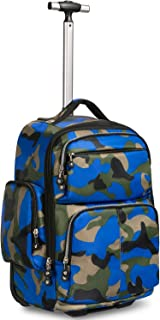 NSHUN Laptop Backpack, with Side Pocket,Durable Travel Backpacks College Trolley Case Computer Bag with Luggage Strap for Women and Men (Color : Blue)
