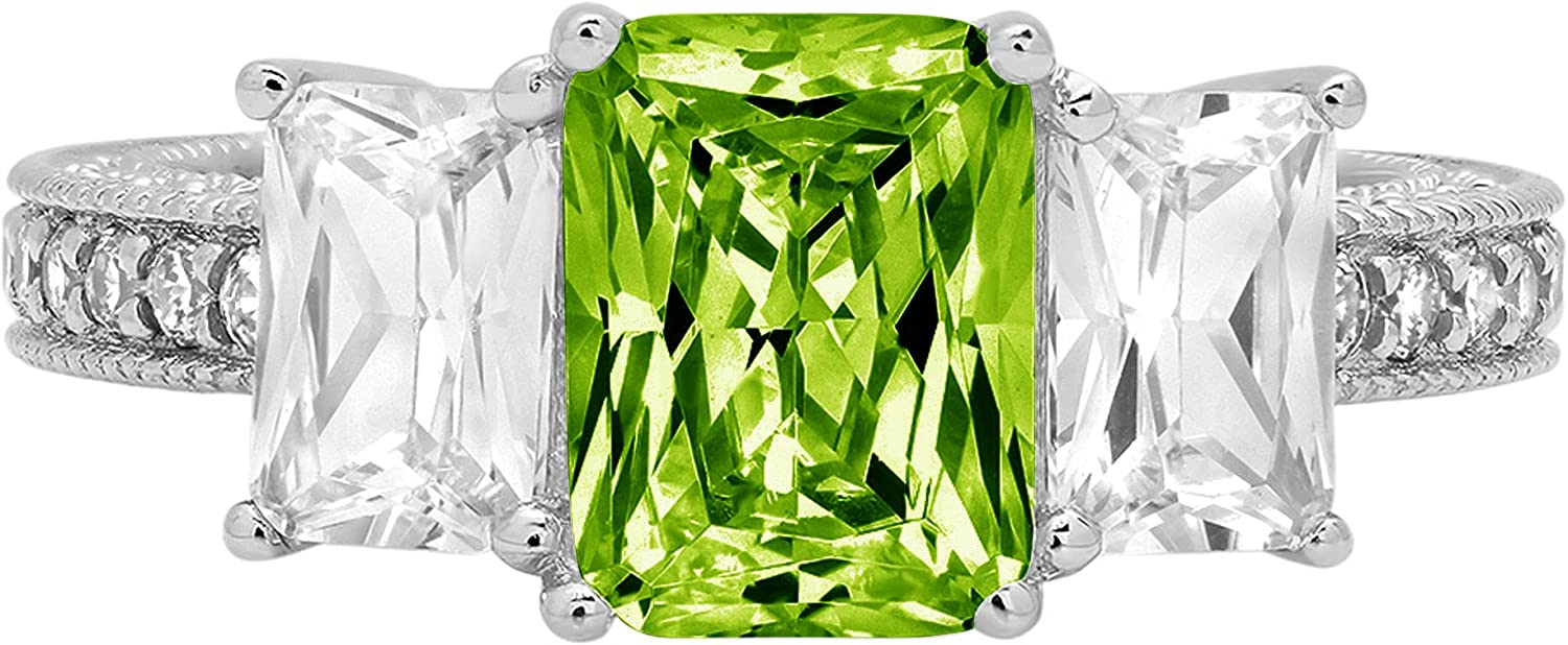 4.26 ct Emerald Round Cut Solitaire 3 stone Accent Genuine Flawless Natural Green Peridot Gemstone Engagement Promise Statement Anniversary Bridal Wedding Ring Solid 18K White Gold