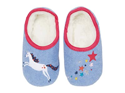 Joules Kids Slippet Felt Mule Slippers (Toddler/Little Kid/Big Kid) (Blue Unicorn Star) Girl