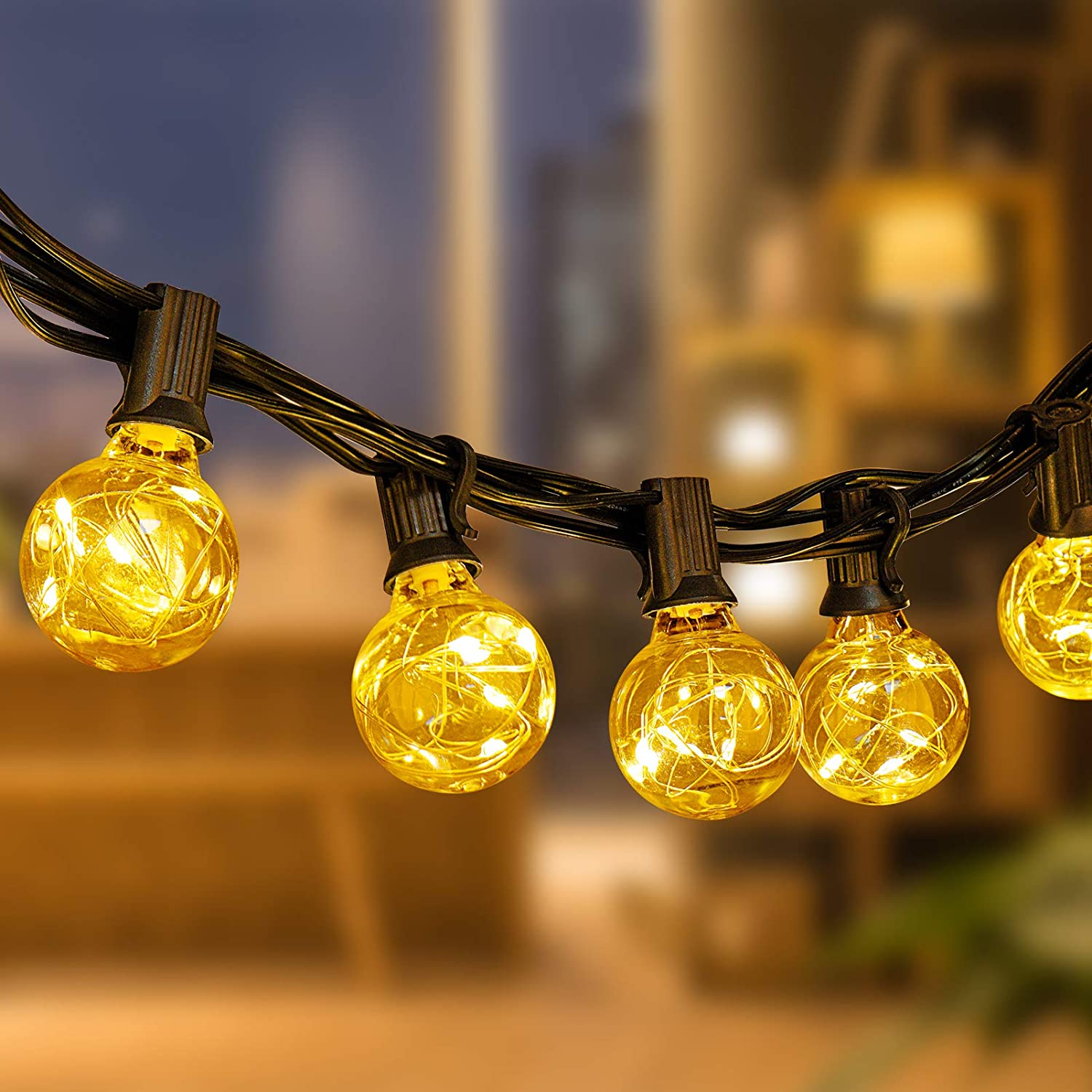 Newpow Max 89% OFF Outdoor String Lights Max 72% OFF LED 36ft Shatte Globe Bulbs 32 with