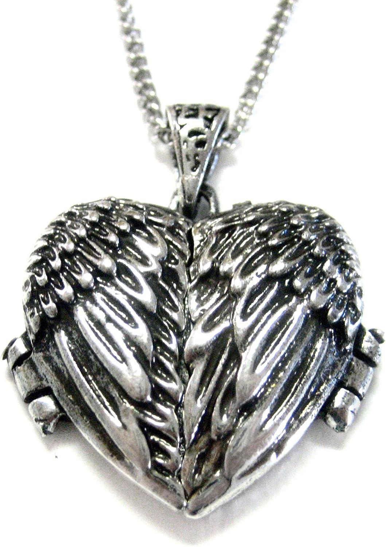 Kiola Designs Winged Heart Locket Pendant Necklace
