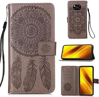 WVYMX Xiaomi Poco X3 NFC ケース, Xiaomi Poco X3 NFC カードホルダー付きケース, Embossed PUレザーリストストラップカードスロット保護フリップカバー for Xiaomi Poco X3 N...