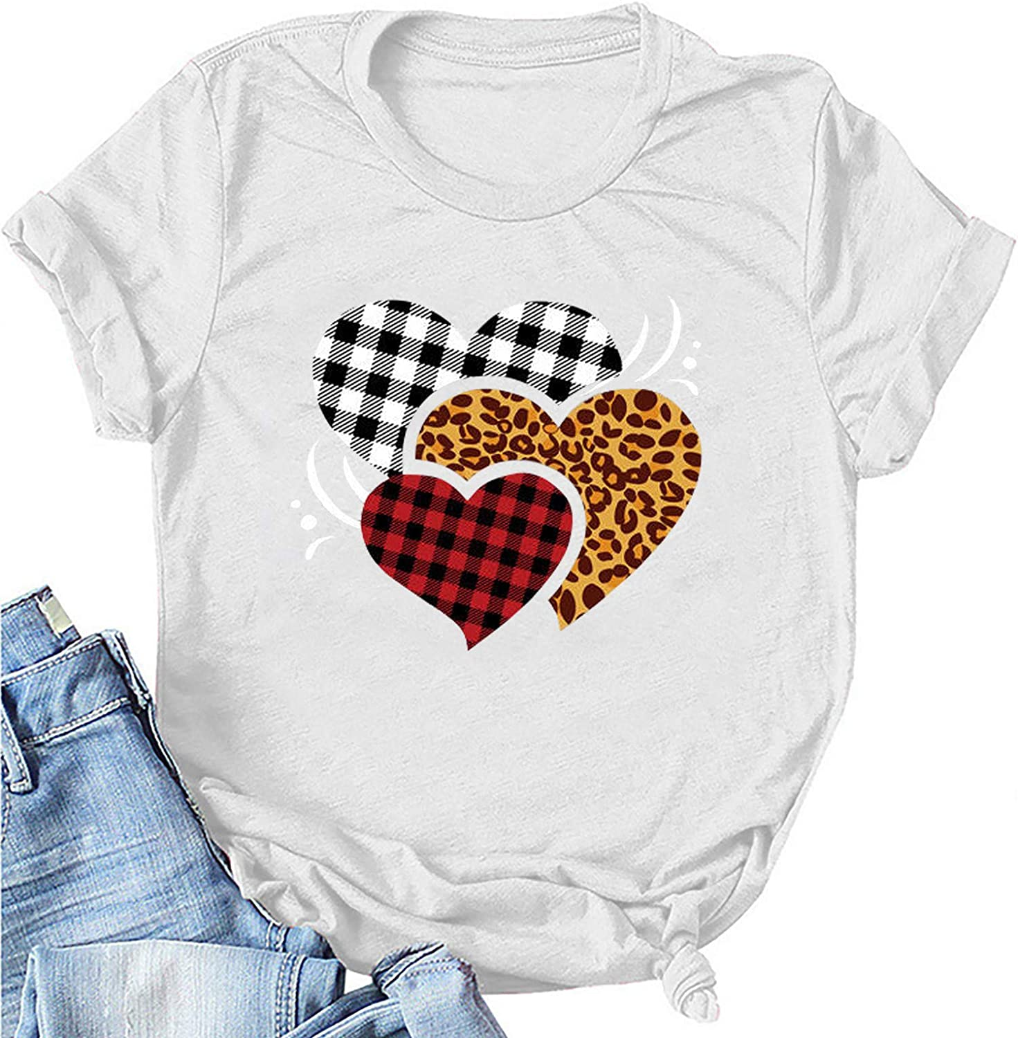 Womens Cheap sale Max 48% OFF Valentines Day Shirts Vintage Tees Plaid Graphic Leopard