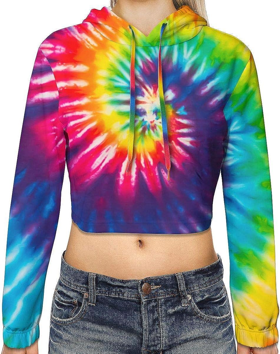 BLUBLU Women's Crop Top Pullover 3D Print Sweatshirt Hoodie