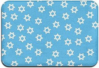 Doormat, Hipster Jewish Hanukkah Stars Welcome Mat Non Slip Outdoor Indoor Rug Doormats for Bathroom Kitchen
