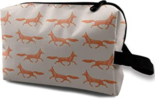 Run Fox Run! Travel Makeup Cute Cosmetic Case Organizer Portable Storage Bag for Women