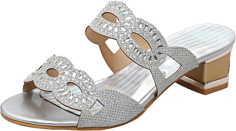 AIYOUMEI Women's Glitter Slippers Open Toe Block Heel shoes with Rhinestones