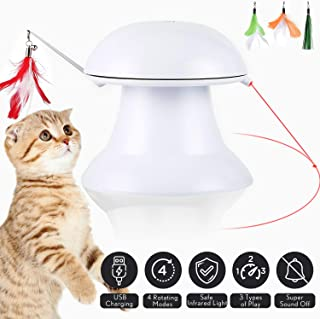 petnf 2020 New Upgraded Cat Laser Toy, Cat Toys Interactive, 2 in 1 Automatic Cat Toy, Moving Feather Toy, Cat Interactive Toys, Auto Rotating Light, Multiple Feather Hangings, 3 Ways to Play