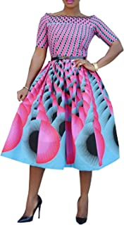VERWIN Off Shoulder Short Sleeve Print A-Line Women's Day Dress Midi Dress