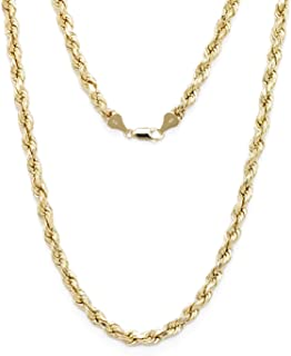 Floreo 10k Yellow Gold Diamond Cut Hollow Rope Chain Necklace with Lobster Claw Clasp for Men and Women, 3mm