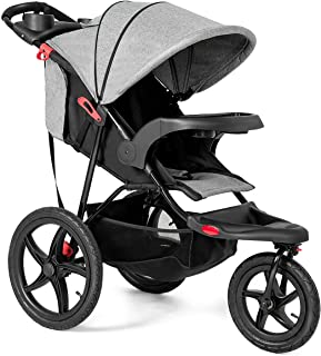 Costzon Baby Jogger Stroller, All Terrain Lightweight Fitness Jogging Stroller w/Parental Cup Phone Holder, Free Tractive Webbing, Large Storage Basket (Gray)