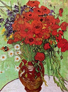 Wooden Jigsaw Puzzles - Vase with Red Poppies and Daisies, 1890 by Vincent Van Gogh - 120 Pieces by Nautilus Puzzles