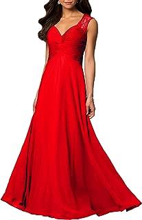 Womens V Neck Chiffon Casual Maxi Dress Wedding Evening Gowns Summer Sleeveless A-Line Party Long Skirt