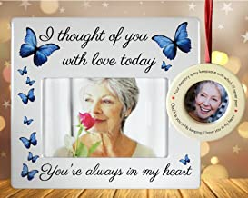 BANBERRY DESIGNS Memorial Picture Frame and Ornament - I Thought of You with Love Today - in Loving Memory Picture Ornament with Easel Back - Condolence
