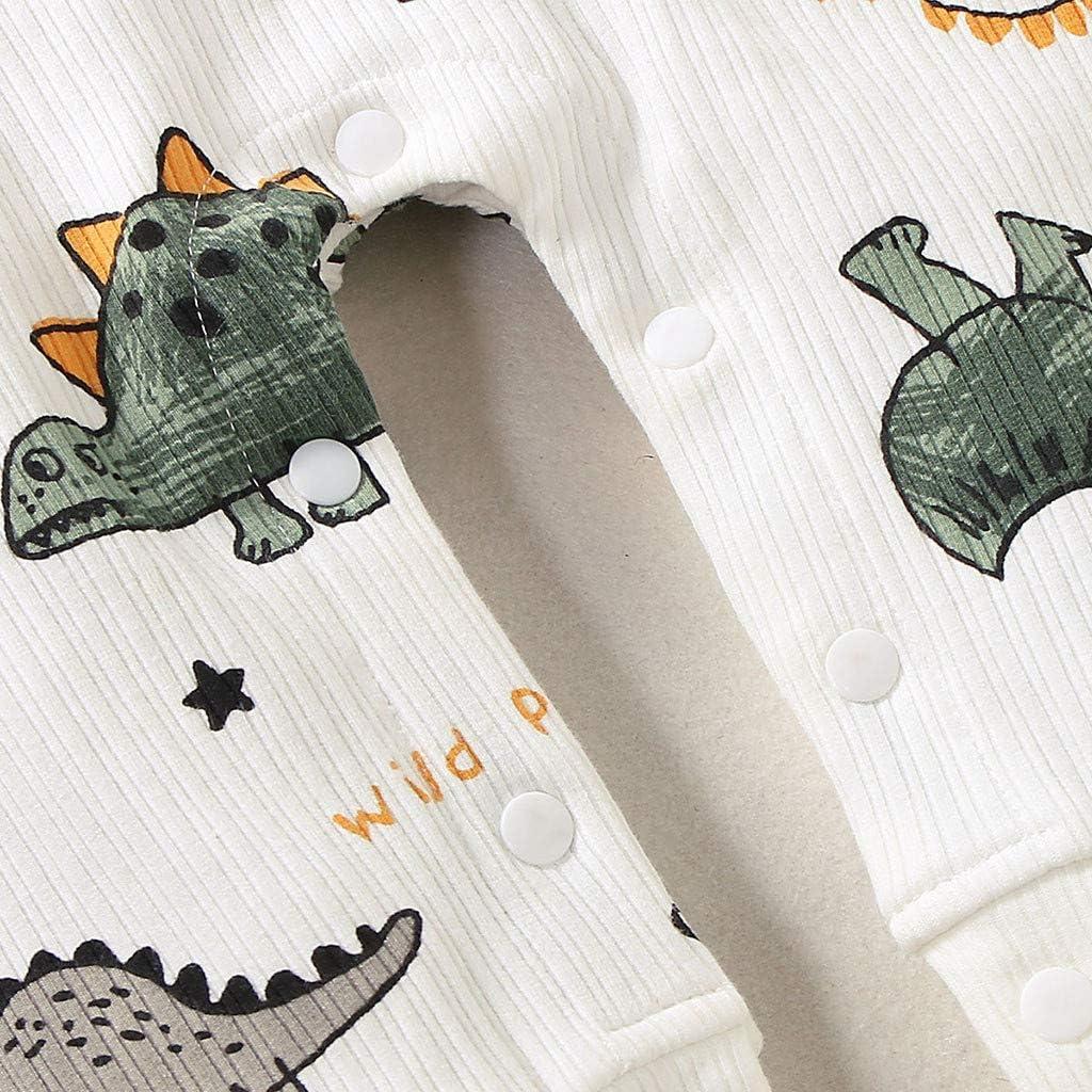 WINJIN V/êtement B/éb/é,Combinaison B/éb/é Barboteuse Pyjama B/éb/é Fille Gar/çon Ensembles B/éb/é Infant b/éb/é gar/çon Filles Manches Longues Dessin anim/é Dinosaure Impri