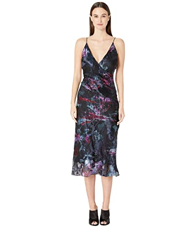 Cushnie Sleeveless Deep V Midi Dress with Twist Detail (Melted Floral) Women