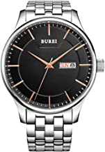 BUREI Classic Men's Quartz Watch Big Analog with Date Calendar Japanese Quartz Movement