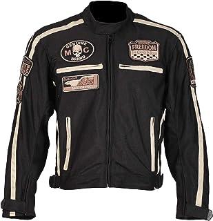 BOS Kurze Textil Motorrad Jacke Motorradjacke Schwarz, Bikerpatch (6XL)