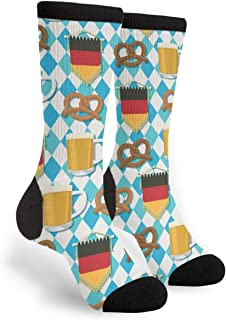 Patriots Oktoberfest Flag Crew Socks - Fun Novelty Socks - Unisex, One Size Fits Most