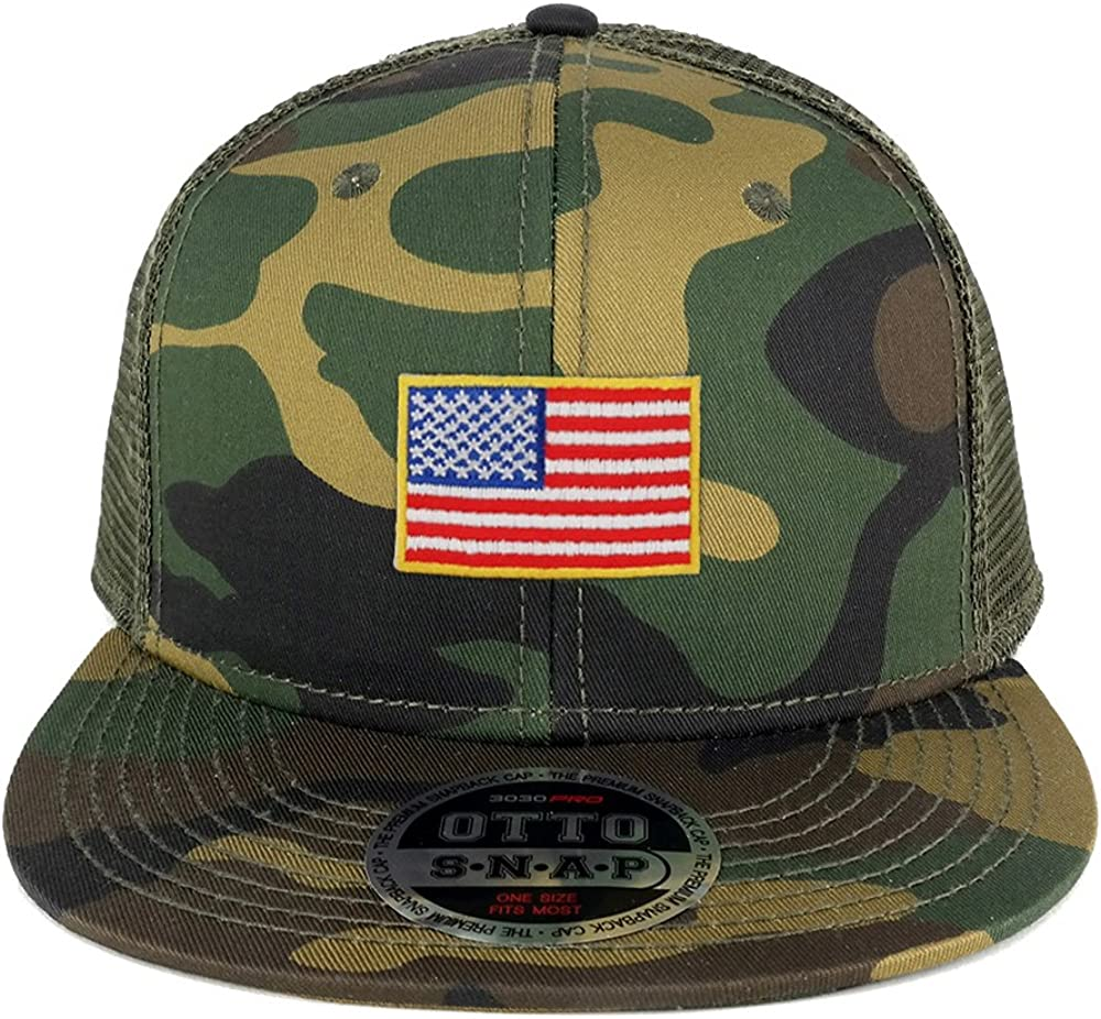 Armycrew Small Yellow American Flag Embroidered Patch Camo Flat Bill Snapback Mesh Cap