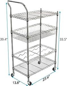 VIPEK 4 Tier Heavy Duty Kitchen Cart Utility Rolling Service Cart Food Storage Trolley Metal Organizer Wire Rack with Handle Bar, 2 Shelves, Wine Rack, Basket, Lockable Wheels Casters, Chrome