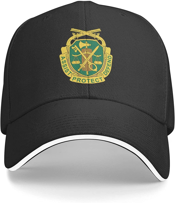 U.S. Army Military Police Corps, Regimental Insignia Unisex Adjustable Sandwich Baseball Cap, Hip Hop Baseball Cap, Dad Cap, Trucker Cap Black