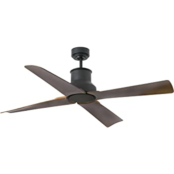 Faro Barcelona 33481 - WINCHE Ventilador de techo ø130 motor DC Negro Mate 4 Palas color marron ip44: Amazon.es: Hogar