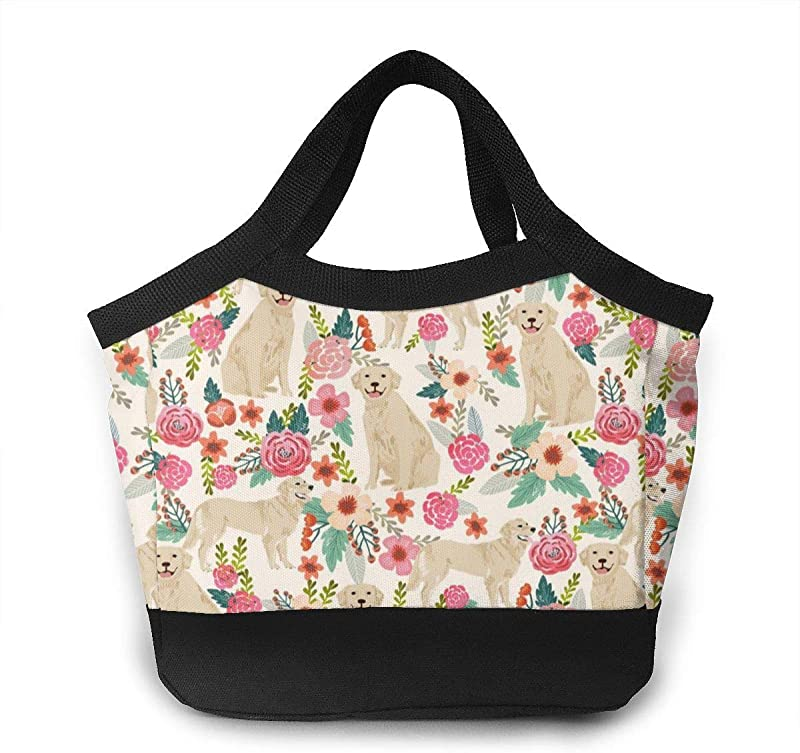 NiYoung Home Accessories Women Men Golden Retriever Floral Dogs Insulated Lunch Bag Water Resistant Foldable Lunch Tote Bag Reusable Lunch Box With Zipper Closure For Work Beach School Picnic