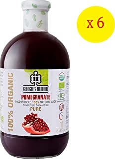 Georgia's Natural100% Organic Cold Pressed Pomegranate Juice, 1000 ml x 6