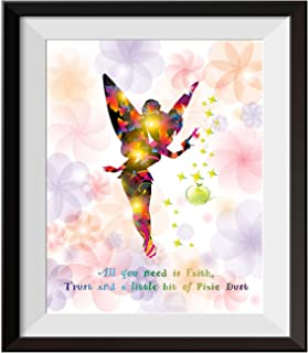 Uhomate Princesss Tinkerbell Peter Pan Never Grow Up Home Canvas Prints Wall Art Anniversary Gifts Baby Gift Inspirational Quotes Wall Decor Living Room Bedroom Bathroom Artwork C015 (8X10)