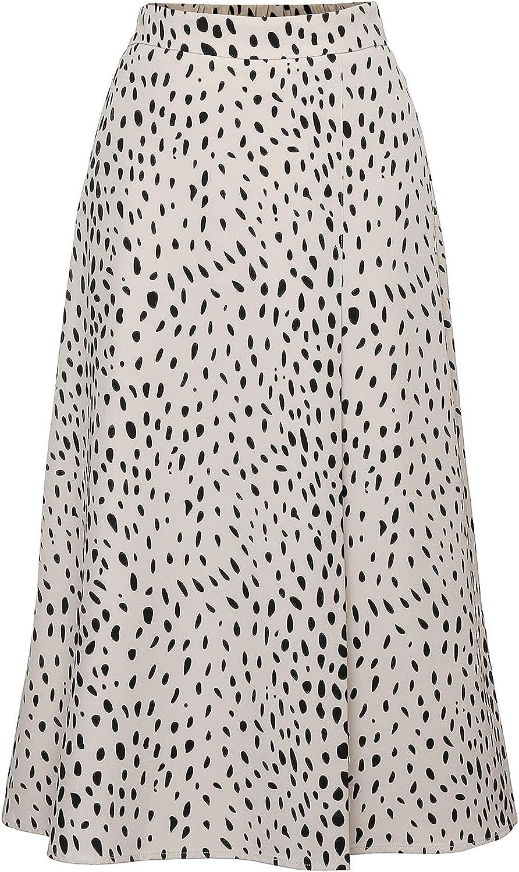 NC Women's Casual High Waist A Line Pleated Midi Skirt