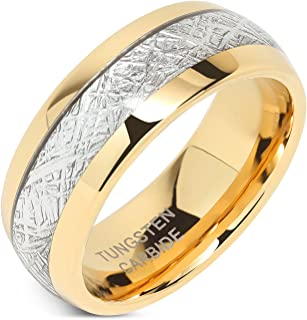 Mens Wedding Bands Tungsten Gold Rings Comfort Fit Imitated Meteorite Inlaid 5-16 with Half Sizes