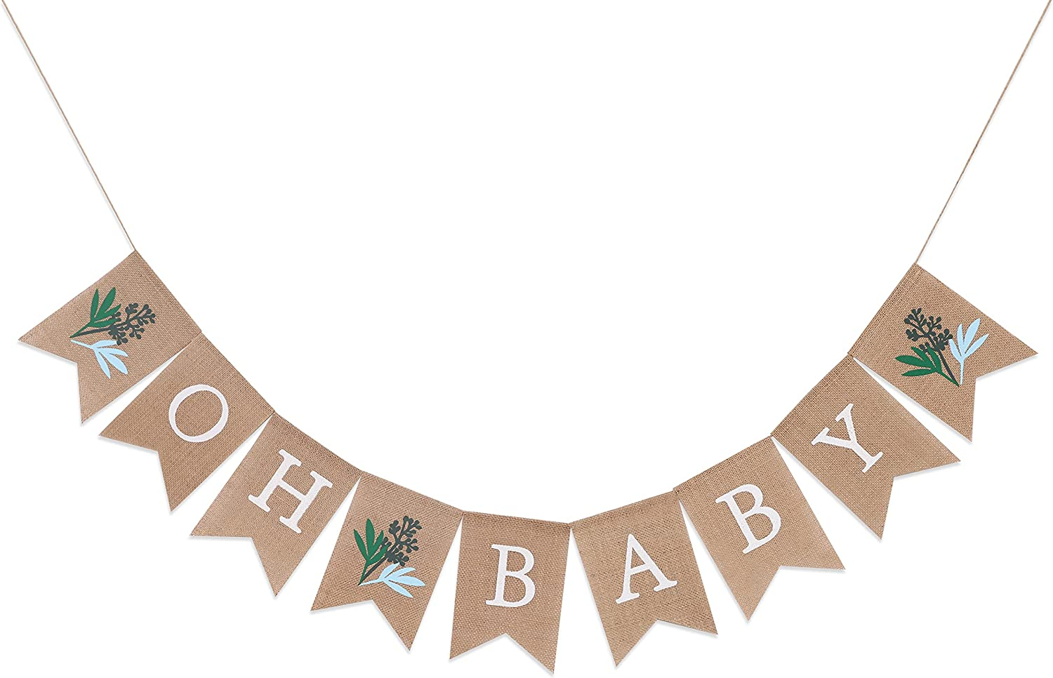 Greenery Baby Shower Banner - Greenery Shower Decorations, Baby Shower Burlap Banner, Oh Baby Burlap Banner, Gender Neutral baby Shower Decor (Greenery Oh Baby Banner)