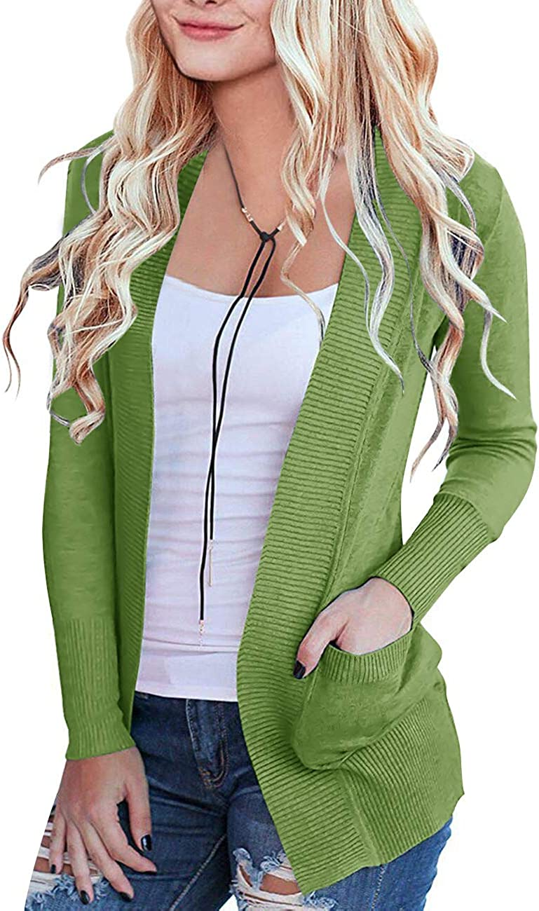 MEROKEETY Women's Max 86% OFF Open Front Casual excellence S Classic Long Knit Cardigan