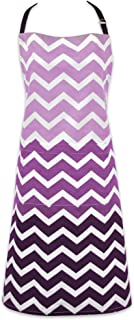 """DII Cotton Ombre Chevron Women Kitchen Apron with Pocket and Extra Long Ties, 33 x 28"""", Cute Fashion Apron for Cooking, Baking, Gardening, Crafting, BBQ-Eggplant"""