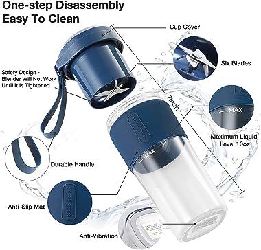 Portable Blender, IKK Blender For Shakes and Smoothies, Personal Blender 7.4V USB Rechargeable with 6 Blades, 10oz, Mini Blen