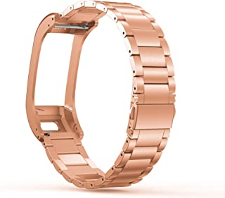 ANCOOL Compatible with Garmin Vivosmart HR+ Bands,Accessory Stainless Steel Replacement Metal BraceletWristband for Garmin Vivosmart HR+ GPS Smart Watch(NOT for Vivosmart HR)-Rose Gold
