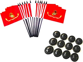 Box of 12 United States Military Service Miniature Desk & Table Flags Includes 12 Flag Stands & 12 Polyester Small Mini Military Stick Flags (4