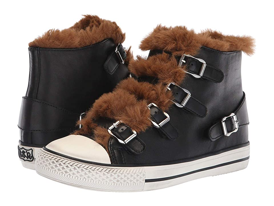 ASH Valko (Nappa Wax Black/Eco Fur Amber) Women