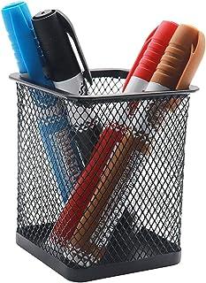 حامل قلم رصاص حامل مكتب مكتب شبكة معدنية مربع وعاء علبة علبة قرطاسية منظم حافظة قلم رصاص دائم أسود (اللون: مربع)