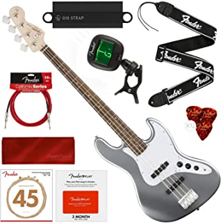 Squier by Fender Affinity Series Jazz Bass, Slick Silver with Fender Play Pre-Paid Card, Tuner, Strap, Strings, Picks, Cable & Deluxe Bundle