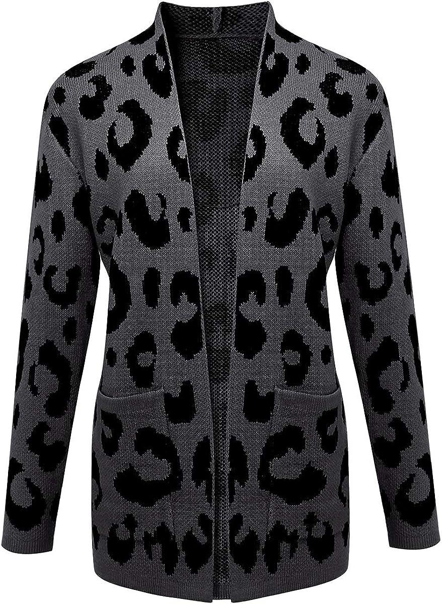 Daetidaca Women Casual Open Front Leopard Long Cardigan Sweater with Pocket
