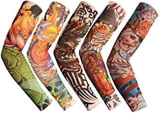 Fake Temporary Tattoo Arm Sleeves Arts Slip on Arm Sunscreen Sleeves Cover Up Body Art Arm Stockings - Designs Tribal, Tiger, Dragon, Skull for Women Men Outdoor Sport Cycling Riding Fishing Driving